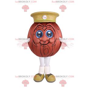 Mascota de pelota de baloncesto con gorra - Redbrokoly.com