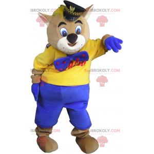 Cat mascot with kepi and bow tie - Redbrokoly.com