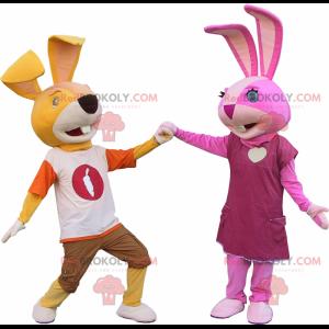Rabbit couple mascot - Redbrokoly.com