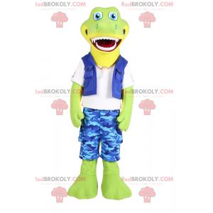 Lachende krokodilmascotte in blauwe camouflagebroek -
