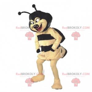 Bienenmaskottchen mit einem schwarzen Kopf - Redbrokoly.com