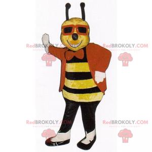 Bienenmaskottchen mit Jacke und schwarzer Brille -