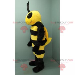 Černá a žlutá včelí maskot s velkými černými očima -