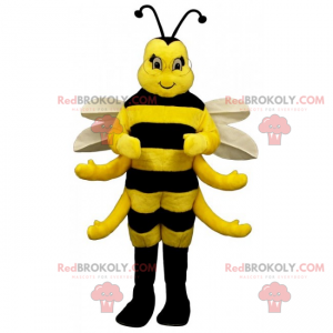 Adorable bee mascot with white wings - Redbrokoly.com