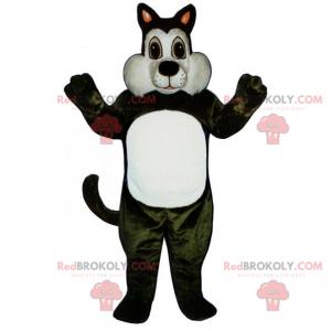 Roztomilý maskot bílá a černá kočka - Redbrokoly.com