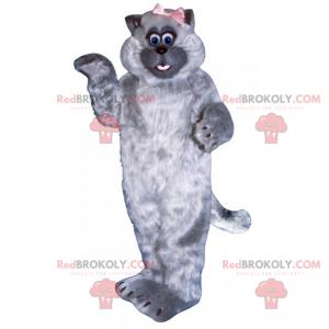Adorable cat mascot with small bow - Redbrokoly.com