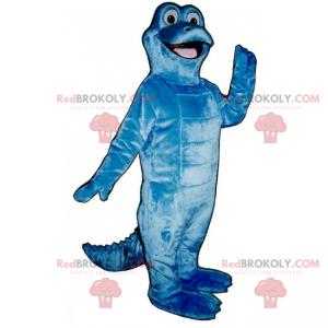 Roztomilý modrý dinosaurus maskot se širokým úsměvem -