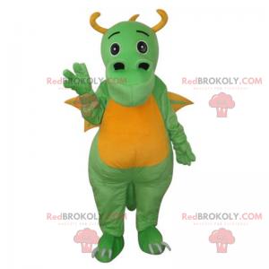 Urocza zielony i żółty smok maskotka z rogami - Redbrokoly.com