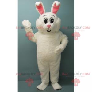 Maskotka uroczy biały królik i różowe uszy - Redbrokoly.com