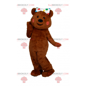Entzückendes Teddybärmaskottchen mit gepunkteter Schleife -