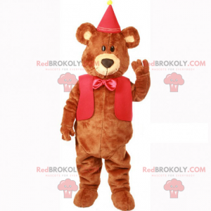 Entzückendes Teddybär-Maskottchen mit Jacke und roter Schleife