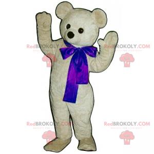 Entzückendes weißes Teddybärmaskottchen mit seiner blauen