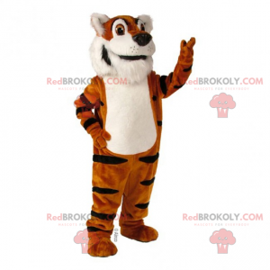 Adorable white-bellied tiger mascot - Redbrokoly.com