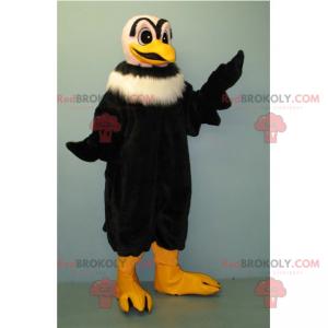 Schwarzes Geier-Maskottchen mit weißem Kragen - Redbrokoly.com