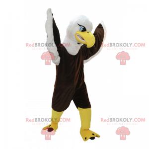 Braunes und weißes Adlermaskottchen mit blauen Augen -