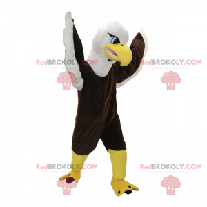Brown and white eagle mascot with blue eyes - Redbrokoly.com