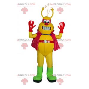 Gul Alien-maskot med kappe - Redbrokoly.com