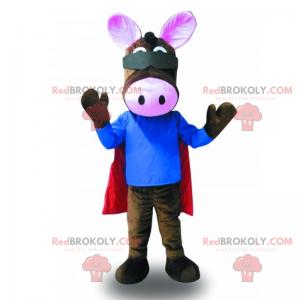 Osel maskot s červeným pláštěm - Redbrokoly.com