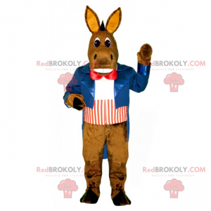 Donkey mascot with a blue jacket and a red bow tie -
