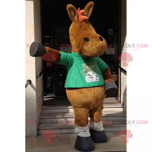 Donkey mascot with green t-shirt - Redbrokoly.com