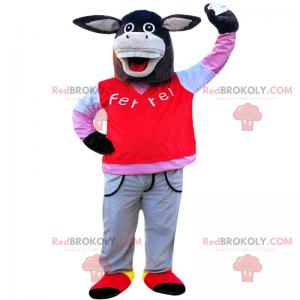 Osioł maskotka w spodniach i swetrze - Redbrokoly.com