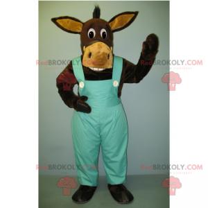 Donkey mascot in blue overalls - Redbrokoly.com