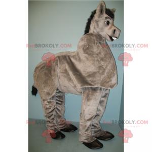 Gray donkey mascot on all fours - Redbrokoly.com