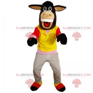 Smilende æselmaskot i sportstøj - Redbrokoly.com
