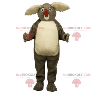 Mascota Koala grandes orejas blancas y nariz roja -