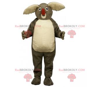 Mascote coala com orelhas grandes e brancas e nariz vermelho -