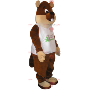 Maskotka zwierzęca - duży niedźwiedź brunatny z koszulką -