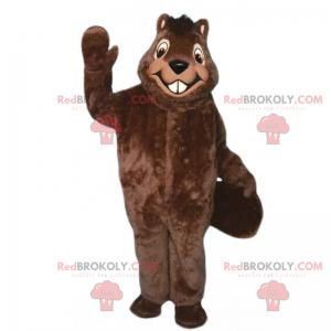 Grande mascote sorridente de castor - Redbrokoly.com