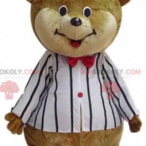 Großes braunes und beige Teddybärmaskottchen im Zirkusoutfit -