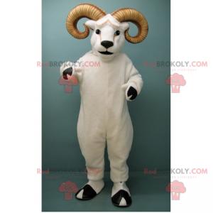 Maskottchen weißer Widder mit großen Hörnern - Redbrokoly.com