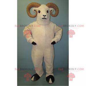 Hvid ram maskot og beige horn - Redbrokoly.com