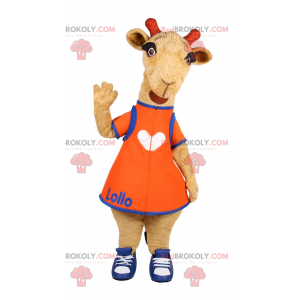 Gedemaskot med orange kjole og basketball - Redbrokoly.com