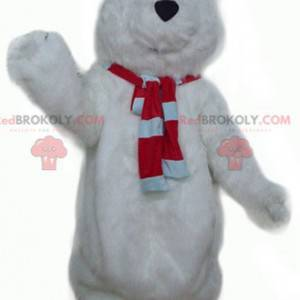 Big hairy and cute white bear mascot - Redbrokoly.com