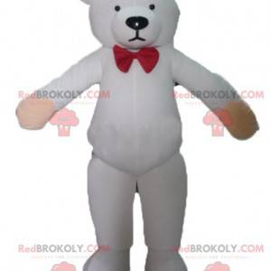 Mascot white teddy bear with a red bow tie - Redbrokoly.com