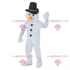 Maskot sněhuláka s černým kloboukem - Redbrokoly.com