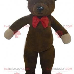 Maskot hnědý medvídek s červeným motýlkem - Redbrokoly.com