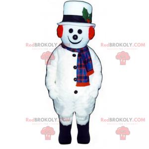 Maskot sněhuláka s bílým kloboukem - Redbrokoly.com