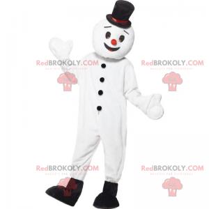 Usmívající se maskot sněhuláka s černým cylindrem -