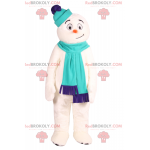 Smiling snowman mascot with accessories - Redbrokoly.com