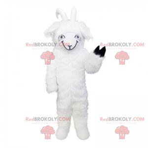 Weißes Ziegenmaskottchen mit einer schwarzen Pfote -