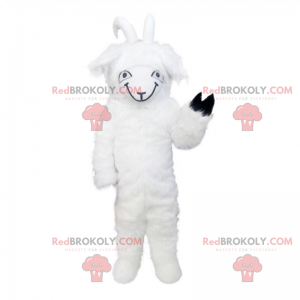 Witte geit mascotte met een zwarte poot - Redbrokoly.com