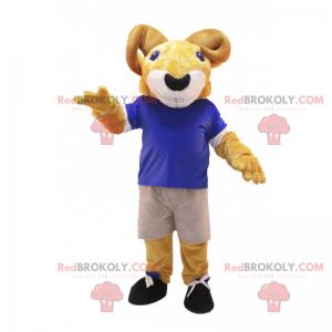 Mascote cabra em uniforme de futebol - Redbrokoly.com