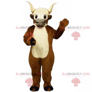 Mascote de cabra marrom com barriga branca - Redbrokoly.com