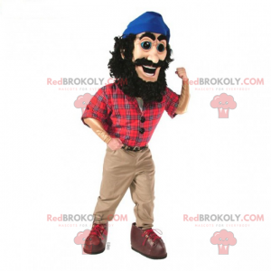 Maskot dřevorubec v kostkované košili - Redbrokoly.com