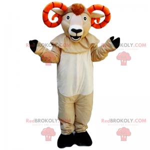 Büffelmaskottchen mit orangefarbenen Hörnern - Redbrokoly.com