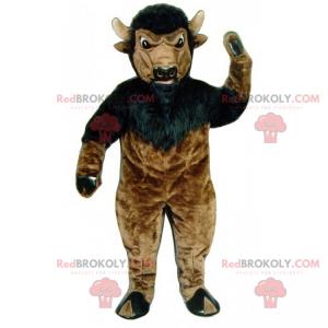 Svart og brun buffalo maskot - Redbrokoly.com